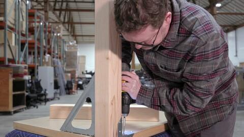 Amazonian Nico Lovejoy demonstrates building a door desk