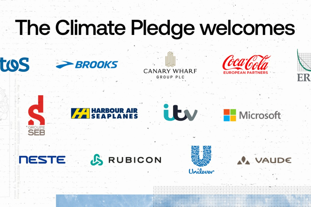 Sobre un cuadro blanco los logos de Atos, Brooks, Canary Wharf Group, Coca-Cola European Partners, ERM, Groupe Seb France, Harbour Air, ITV, Microsoft, Neste, Rubicon, Unilever, y Vaude  con un texto de The CLimate Pledge welcomes.