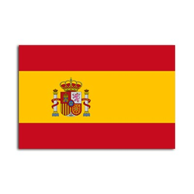 Flat flag of Spain on a white background