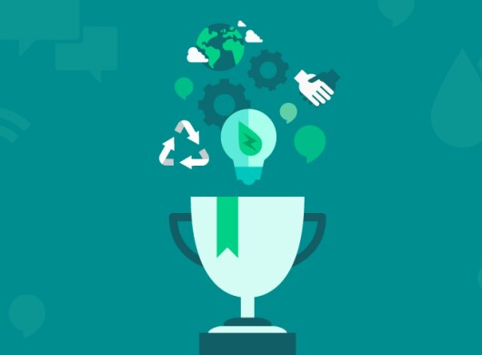 Alexa Skills Challenge illustration of a trophy cup underneath recycling image, light bulb, conversation bubbles, hands shaking, gears and the earth
