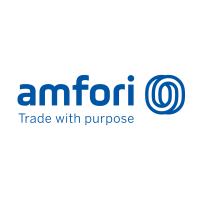 "The amfori logo features the name of the organization, a graphic of overlapping circles and the words ""Trade with purpose"""