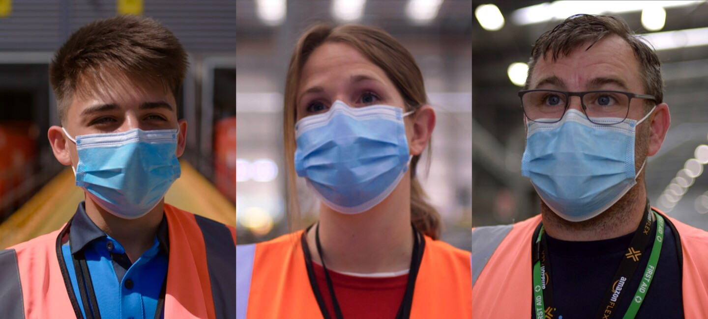 three amazon employees wearing blue protective face mask