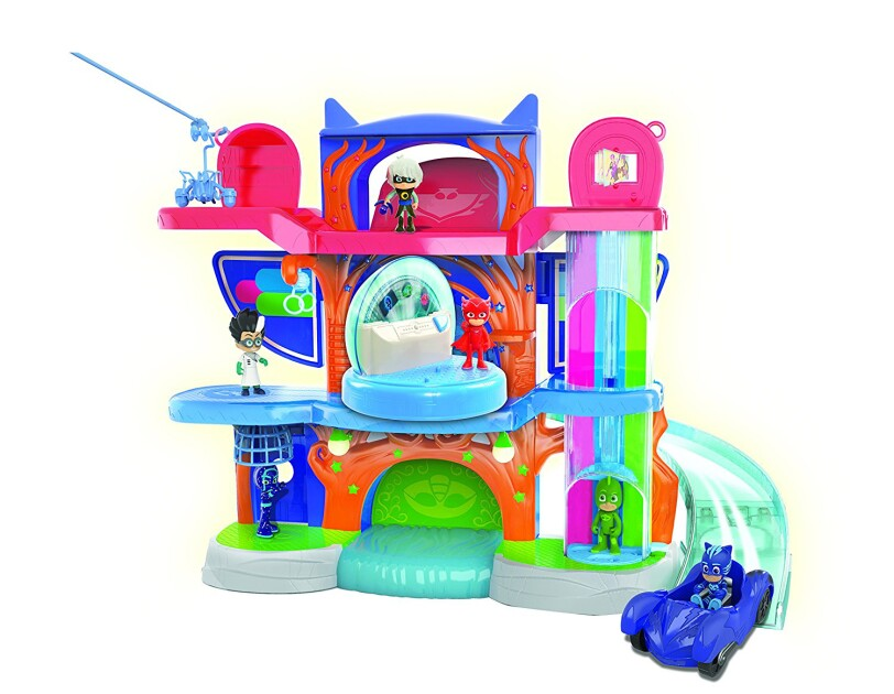 PJ Masks double-sided playset is more than two feet tall, with three character themed levels. Includes three figures, and a vehicle. Playset has three levels, three characters, and sound and light functions.