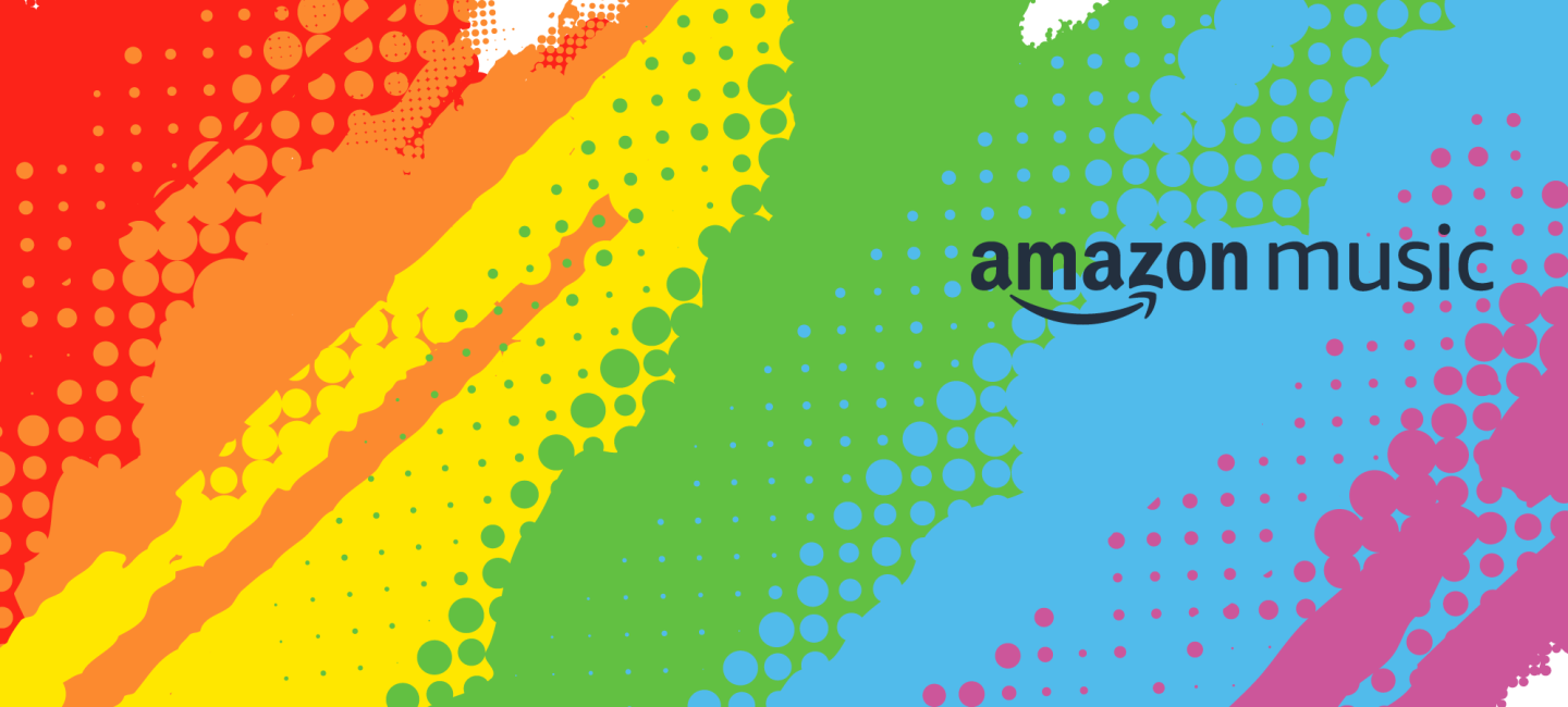 The Amazon Music logo superimposed over a splashy LGBTQ Pride rainbow colored background