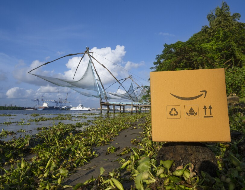 Journey of the Amazon box across iconic Indian locations