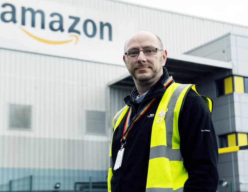 Kenneth Beatson standing outside of the Amazon delivery station in Bathgate.