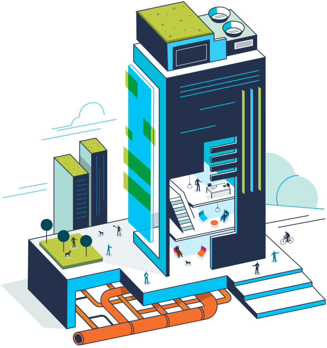 An illustration of an Amazon building that features a green roof, orange pipes, employees working inside and people outside with their pet dogs
