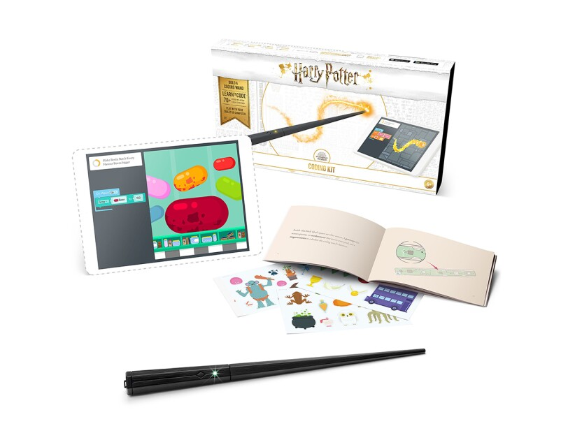 A Harry Pottery coding kit that guides kids as they build a wand that responds to movements. Comes with wand parts, PCB with codeable LED, button, batteries, step-by-step book, stickers, poster, and free Kano app.