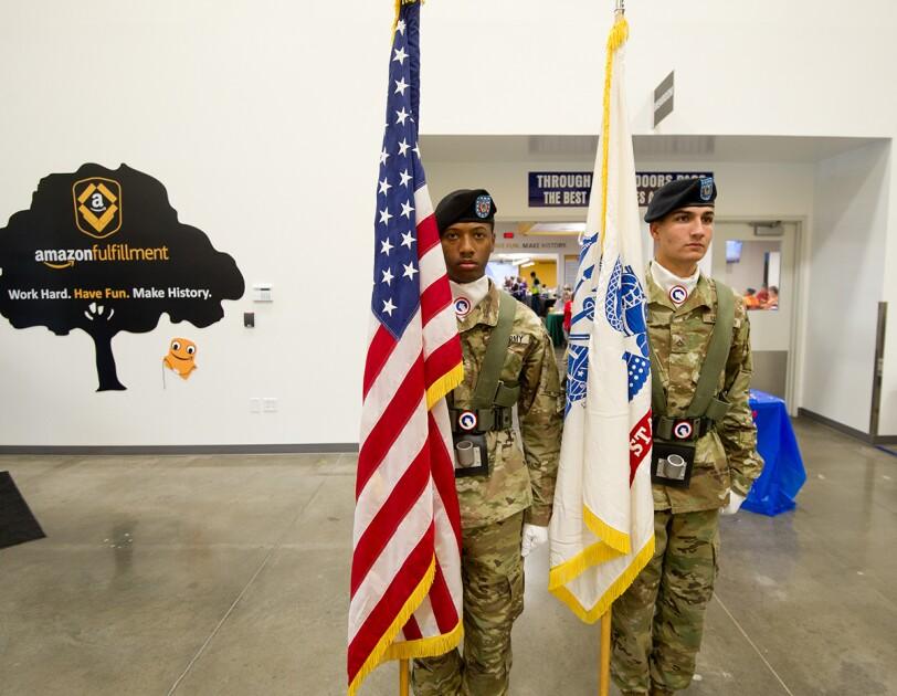 Ft. Knox Color Guard presentation at Amazon Campbellsville, Kentucky