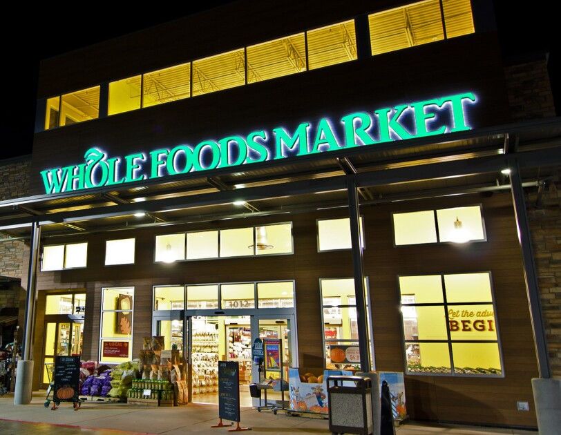 Whole Foods storefront at night