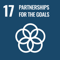 "UN SDG #17 reads ""Partnerships for the Goals"" and features an icon of five circles that are interlocked to represent a flower."