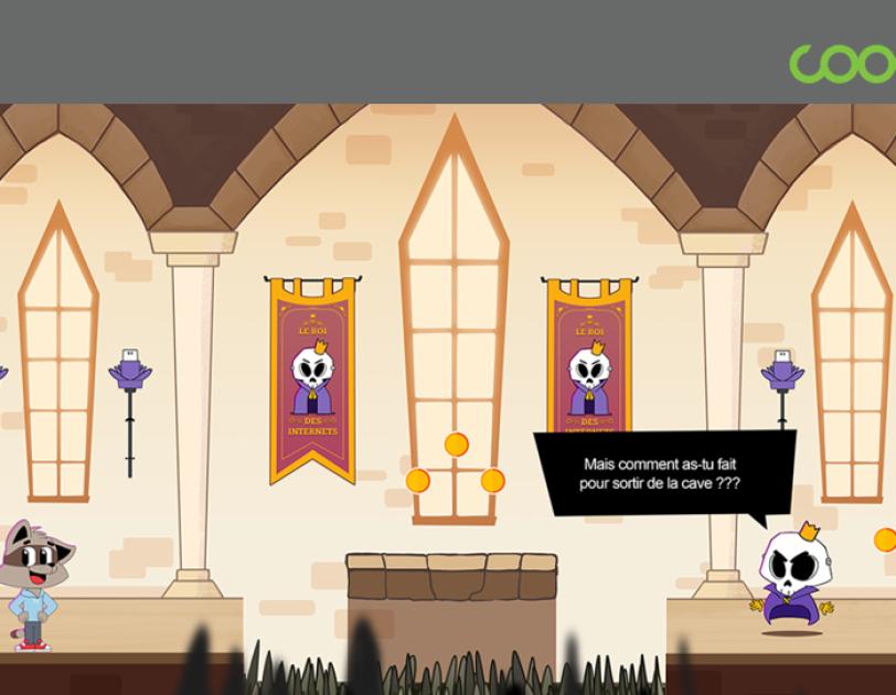 Deux personnages de dessin animés parlent dans le château du roi des internets.