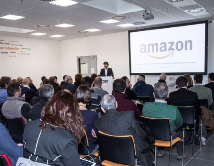 Francesco Semeraro, Made in Italy, Amazon Manager speaking at Amazon Academy in Italy.