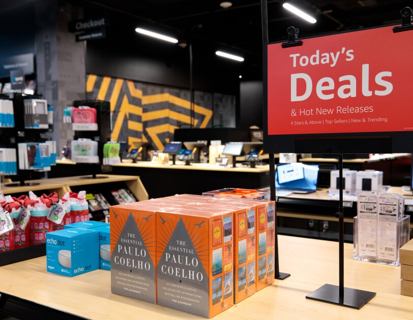 Inside the Amazon 4-star store in Seattle, Washington, highlighting products on display.