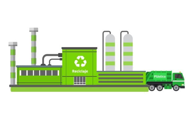 Planta de reciclaje de color verde con un camión que llega de color verde con la inscripción de Plástio en el remolque.