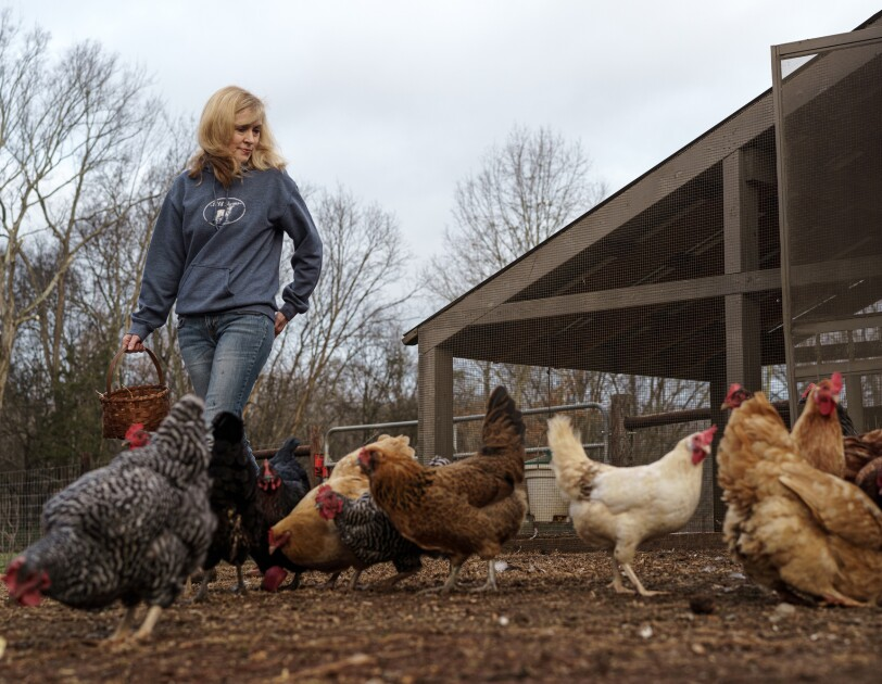 A woman in a farm setting with chickens at her feet.