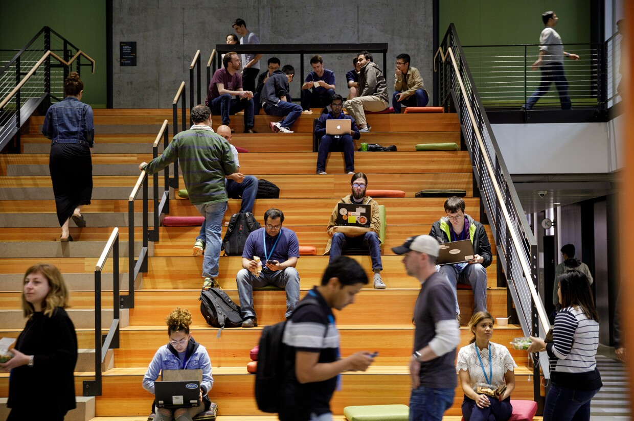 Employees on the stairs in Seattle