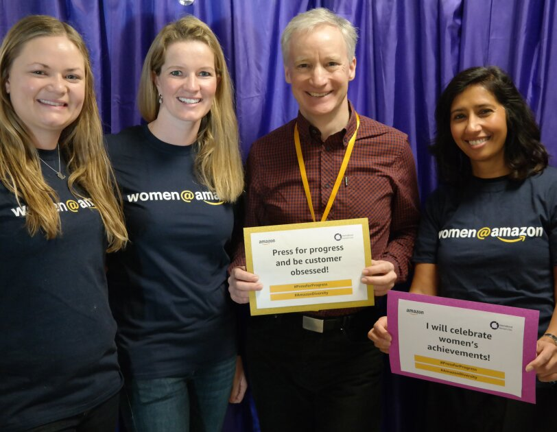 Amazon Women in Innovation Bursary program posing with Doug Gurr, UK Country Manager