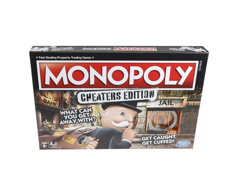 "A Monopoly board game cover on a white background. The box cover says ""MONOPOLY, Cheater's Edition, what can you get away with?"" and an Uncle Pennybags character looking over his shoulder with a finger to his lips as if to suggest shushing."