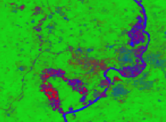 A satellite image of Africa illustrates how ASDI enables sustainability research.