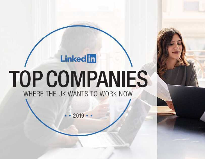 LinkedIn Top Companies 2019 List - initiative logo and a photo of employees working around a table with a laptop and notebooks