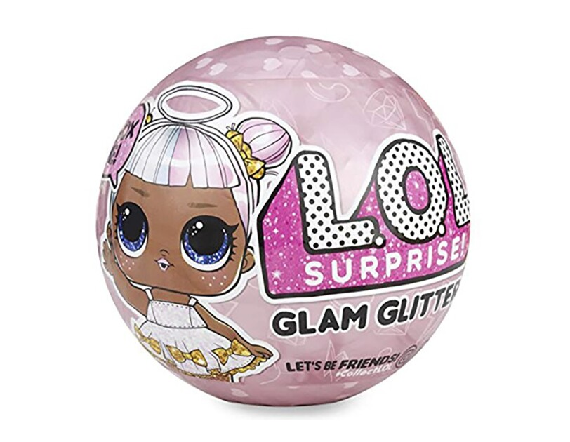 Glam Glitter L.O.L. doll includes 7 surprises: (1) secret message sticker, (2) collectible stickers, (3) water bottle, (4) shoes, (5) outfit, (6) fashion accessory, and (7) L.O.L. Surprise! glam glitter doll
