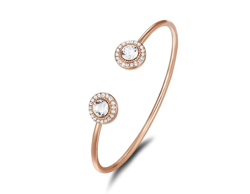 Mestige rose gold Ayla bangle with Swarovski crystals