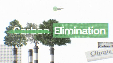 "Image with trees growing out of industrial structures and the words ""carbon elimination"""