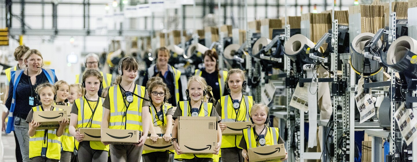 A pack of brownies leaving Amazon Rugeley with gifts for their parents