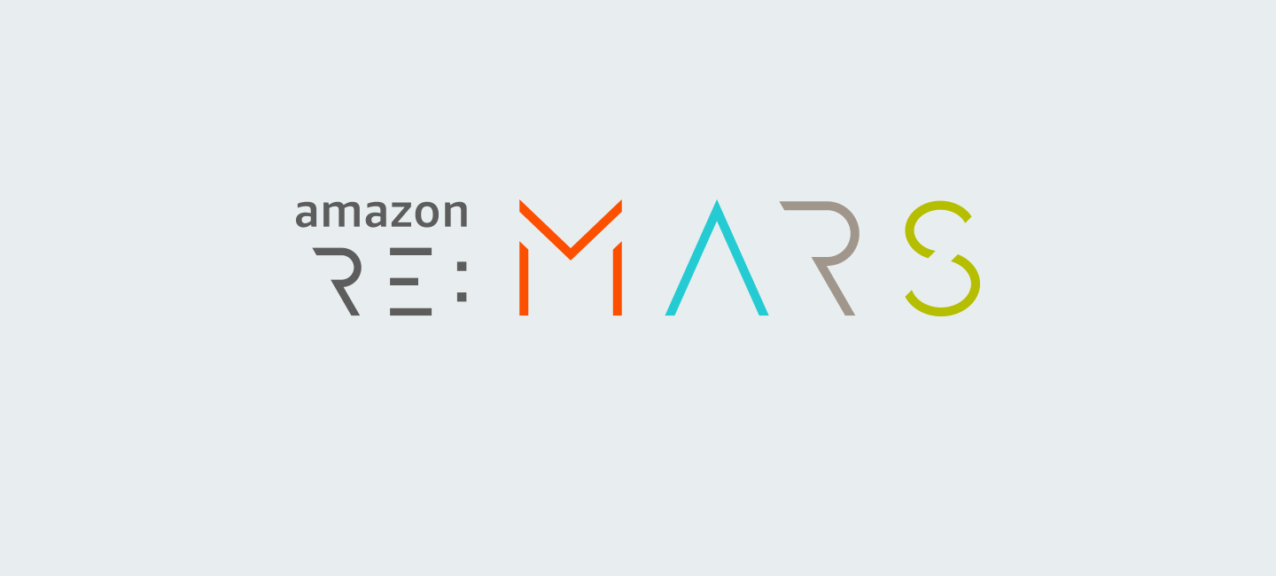 Amazon re:MARS logo on light blue background