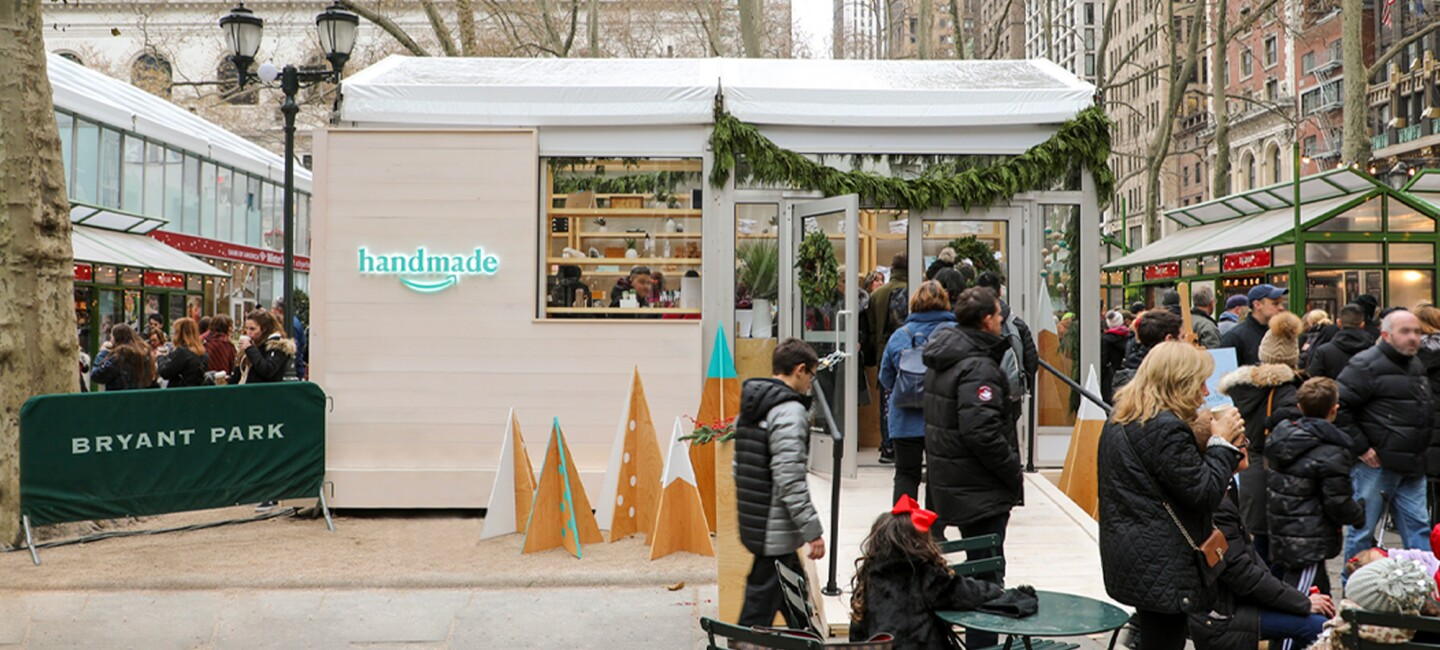 Handmade for the holidays booth at Bryant Park.