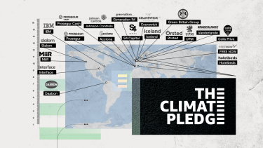 L'immagine mostra una mappa del mondo, con indicati i loghi dei 20 nuovi firmatari del Climate Pledge: ACCIONA, Colis Prive, Cranswick plc, Daabon, FREE NOW, Generation Investment Management, Green Britain Group, Hotelbeds, IBM, Iceland Foods, Interface, Johnson Controls, MiiR, Orsted, Prosegur Cash, Prosegur Compañia de Seguridad, Slalom, S4Capital, UPM e Vanderland