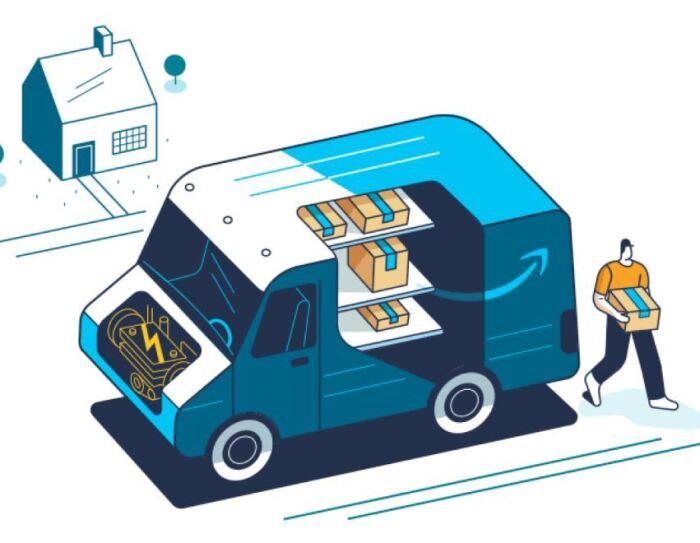 Ilustración de una furgoneta de Amazon con un repartidor entregando un paquete a una casa.