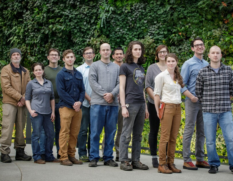 Group photo of the horticulture team for The Spheres.
