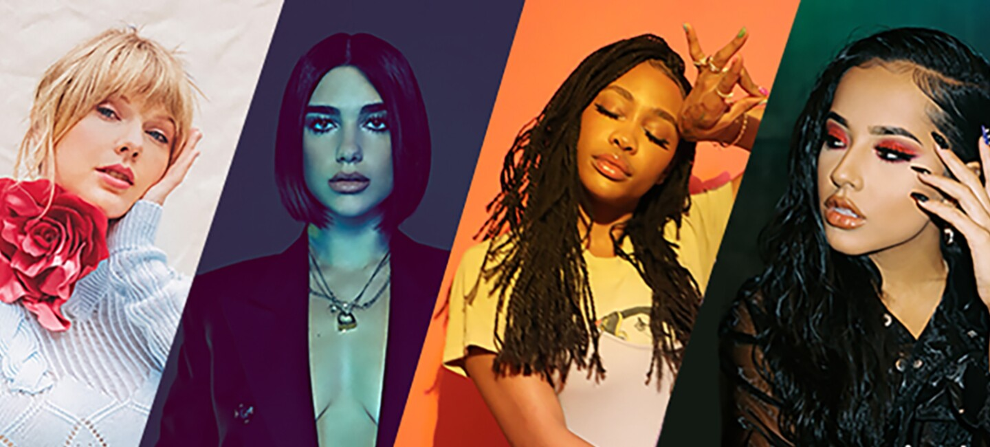 Composite image of Taylor Swift, Dua Lipa, SZA, and Becky G, talent performing in the 2019 Prime Day concert.