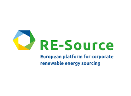 Re-Source: European platform for corporate renewable energy sourcing logo on a white background.