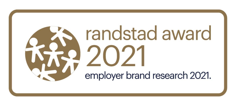 Sello de la empresa Randstad. Dentro de un marco dorado, fondo blanco y letras dorada con el siguiente texto: Randstad award 2021 employer brand research 2021.