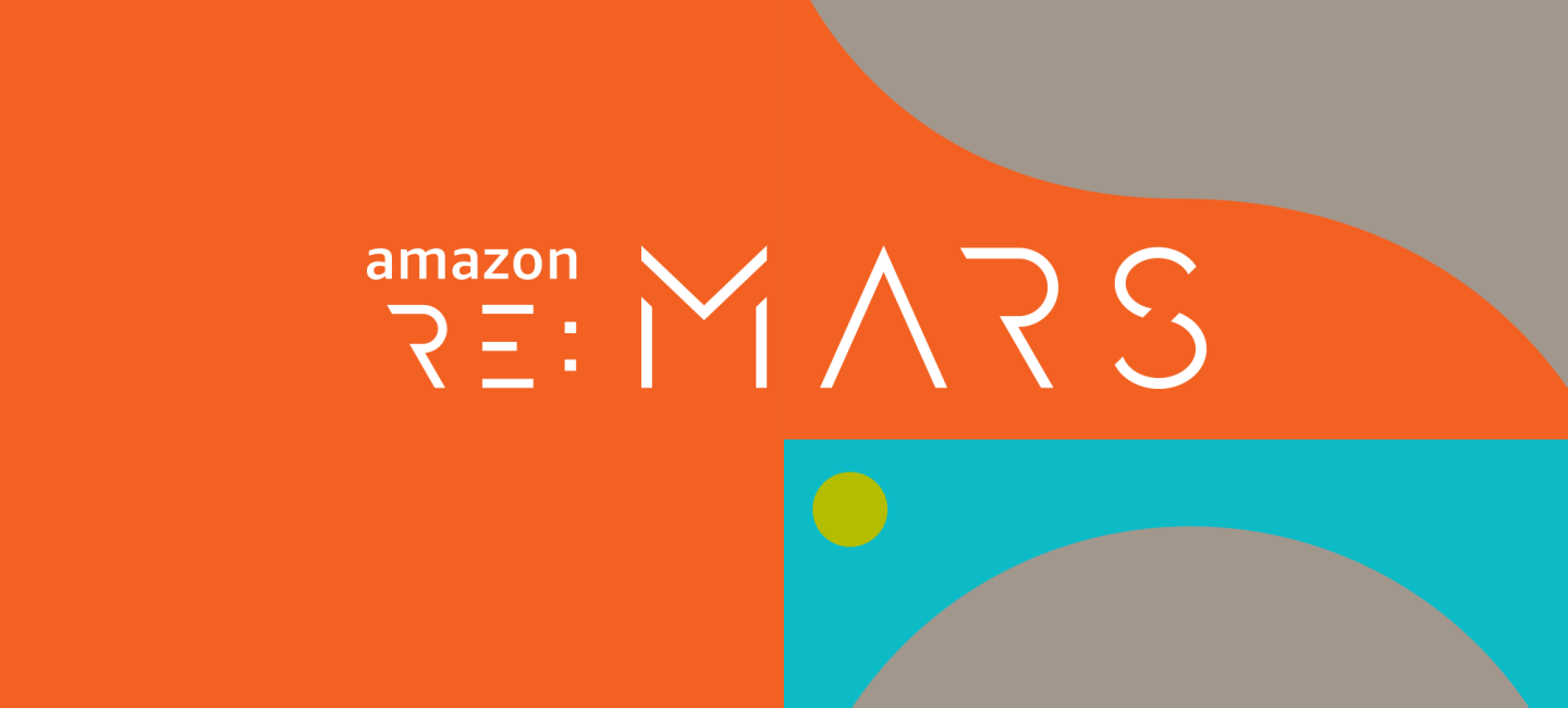 Amazon re:MARS logo in white text on a colorful background
