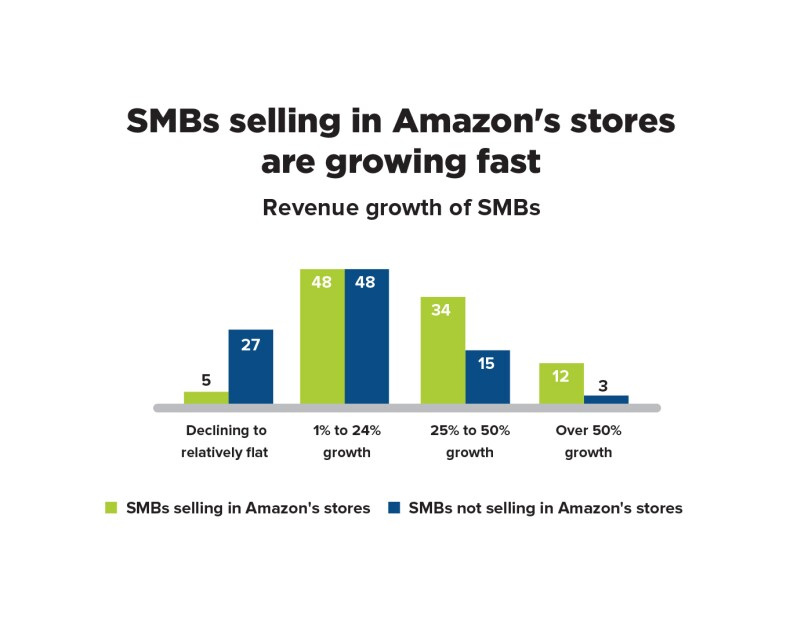 "Infographic that says ""SMBs selling in Amazon's stores are growing fast"""