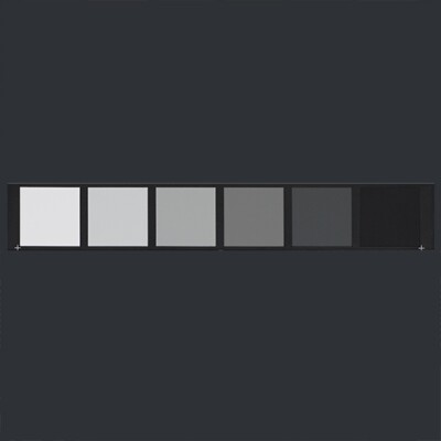 Six squares in shades of gray arranged horizontally against a dark gray background. As the squares go from left to right, they get darker.