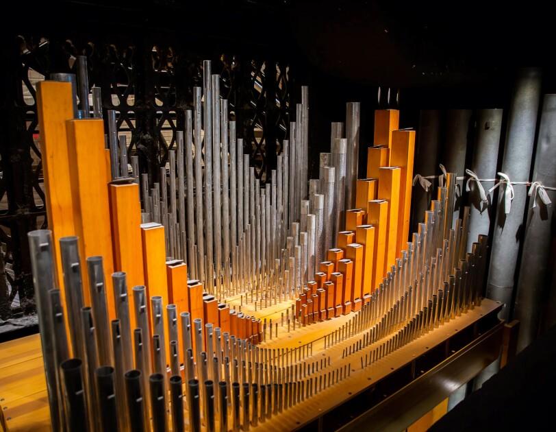 Pipes of a church organ.