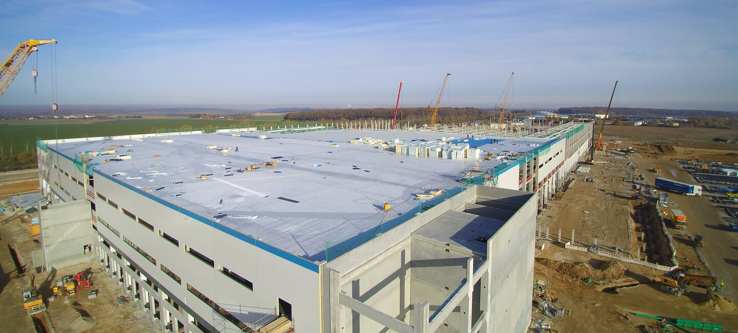 New fulfillment center under construction in Gera, Thuringia Germany