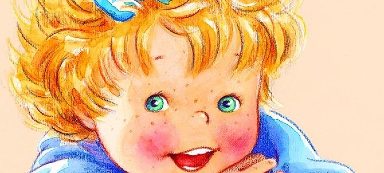 Dessin d'une petite fille blonde avec un noeud bleu dans les cheveux et des taches de rousseur