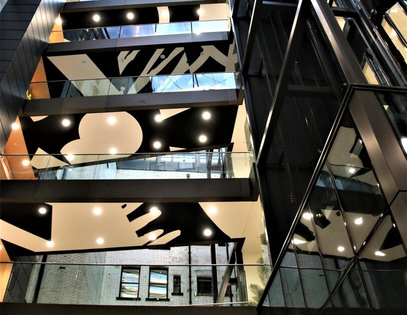 View from below of the multiple floors in the  Amazon Manchester offices.