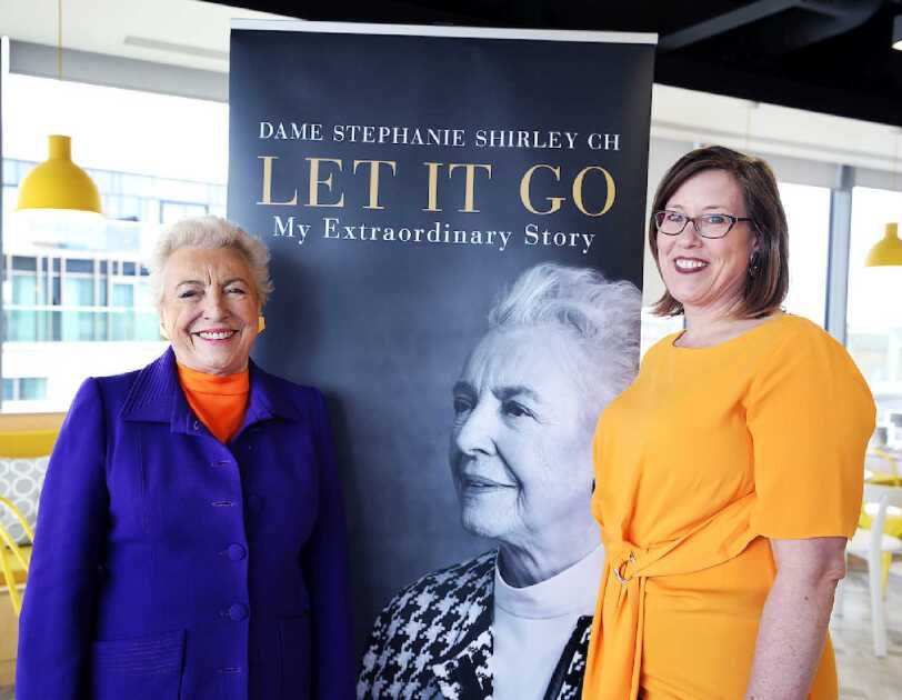 Dame Stephanie Shirley with Lauren Kisser at the Amazon Cambridge Development Centre